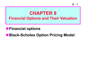 CHAPTER 8  Financial options Black-Scholes Option Pricing Model