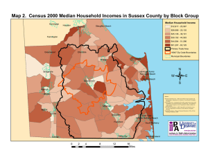 Map 2.  Census 2000 Median Household Incomes in Sussex... Median Household Income