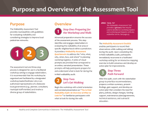 Purpose and Overview of the Assessment Tool Purpose Overview Step One: Preparing for