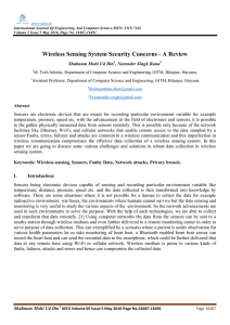 Wireless Sensing System Security Concerns - A Review