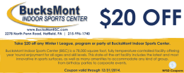 Take $20 off any Winter I League, program or party...