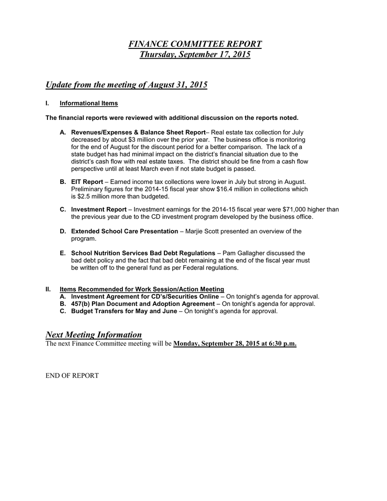 FINANCE COMMITTEE REPORT Thursday, September 17, 2015