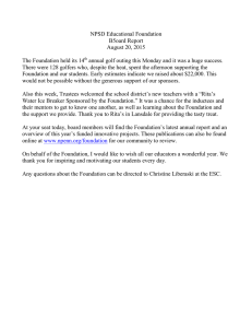 NPSD Educational Foundation B5oard Report August 20, 2015