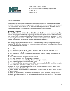 North Penn School District Acceptable Use of Technology Agreement Grades K-12 August 2015
