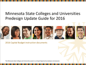 Minnesota State Colleges and Universities Predesign Update Guide for 2016