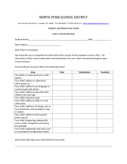 NORTH PENN SCHOOL DISTRICT PARENT INFORMATION FORM EARLY INTERVENTION