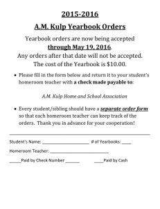 2015-2016 A.M. Kulp Yearbook Orders Yearbook orders are now being accepted