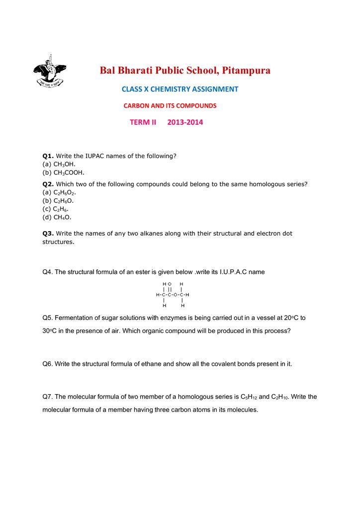 bal bharati public school pitampura class x chemistry assignment