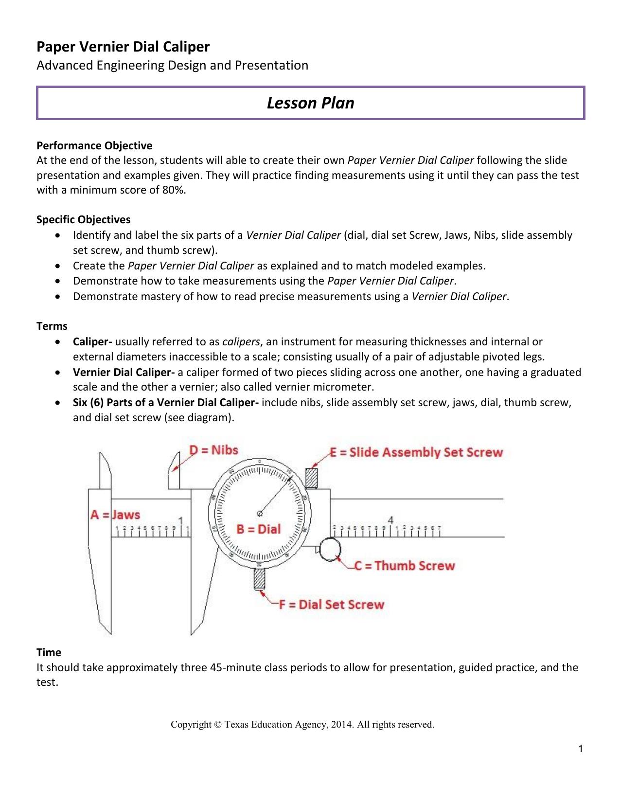 Fabulous Lesson Plan Paper Vernier Dial Caliper Advanced Engineering Design Wiring Cloud Intapioscosaoduqqnet