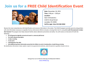Join us for a FREE Child Identification Event Date: