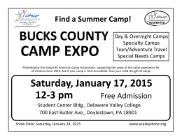CAMP EXPO BUCKS COUNTY Find a Summer Camp!