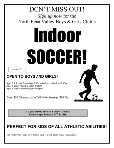 Indoor SOCCER! DON'T MISS OUT! Sign up now