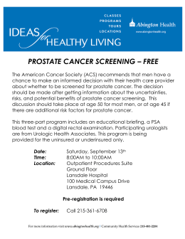 PROSTATE CANCER SCREENING – FREE
