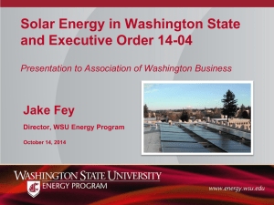 Solar Energy in Washington State and Executive Order 14-04  Jake Fey