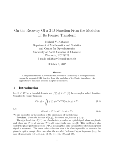 On the Recovery Of a 2-D Function From the Modulus