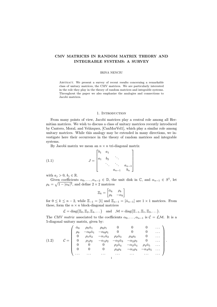 CMV MATRICES IN RANDOM MATRIX THEORY AND INTEGRABLE SYSTEMS