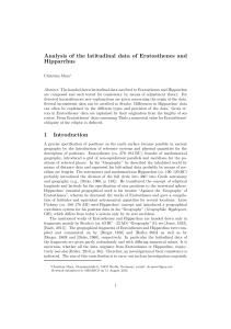 Analysis of the latitudinal data of Eratosthenes and Hipparchus