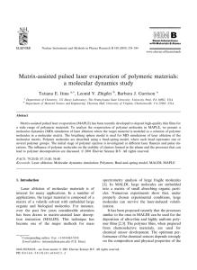Matrix-assisted pulsed laser evaporation of polymeric materials: a molecular dynamics study