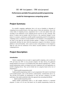 Project Summary CSC 400 Assignment:ITRG miniproposal Performance portable fine-grained parallel programming