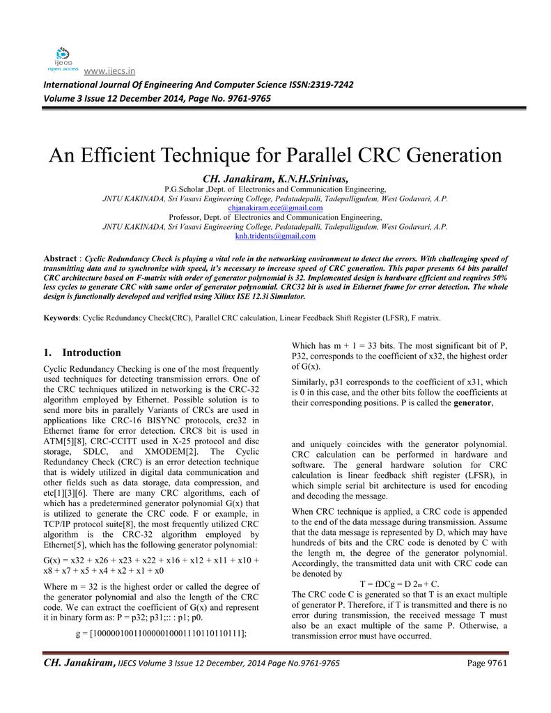 Crc32 Calculation