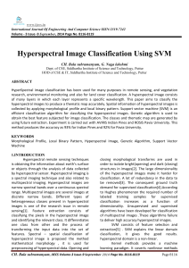 Hyperspectral Image Classification Using SVM CH. Bala subramanyam, G. Naga lakshmi