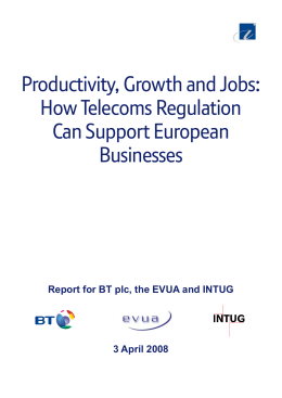 Productivity, Growth and Jobs: How Telecoms Regulation Can Support European
