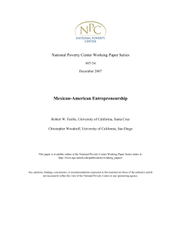 Mexican-American Entrepreneurship National Poverty Center Working Paper Series
