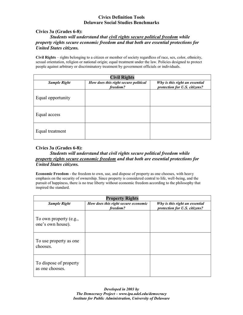 civics definition tools delaware social studies benchmarks civics 3a