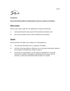 3232P  STUDENTS Parent and Students Rights In Administration of Surveys, Analysis or...