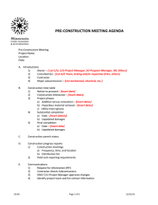 PRE-CONSTRUCTION MEETING AGENDA