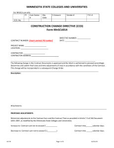 MINNESOTA STATE COLLEGES AND UNIVERSITIES CONSTRUCTION CHANGE DIRECTIVE (CCD) Form MnSCU014