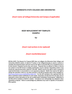 MINNESOTA STATE COLLEGES AND UNIVERSITIES ROOF REPLACEMENT RFP TEMPLATE EXAMPLE
