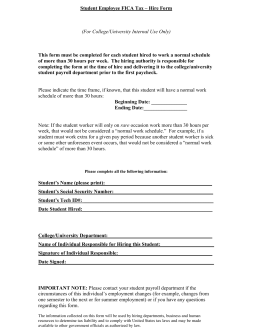 Student Employee FICA Tax – Hire Form