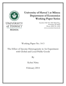 University of Hawai`i at M Department of Economics Working Paper Series