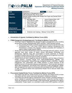 Department of Financial Services September 2015 People First/Florida PALM Meeting Summary
