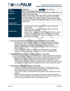 Department of Financial Services MFMP/Florida PALM Meeting Summary