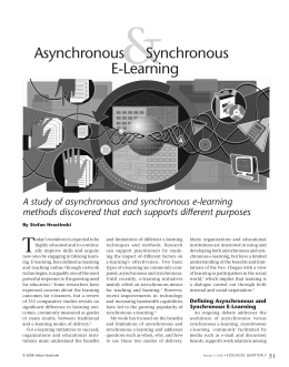 synchronous learning essay Active learning pedagogies have become widely actively engaging students in asynchronous online classes for online courses designed to require synchronous.