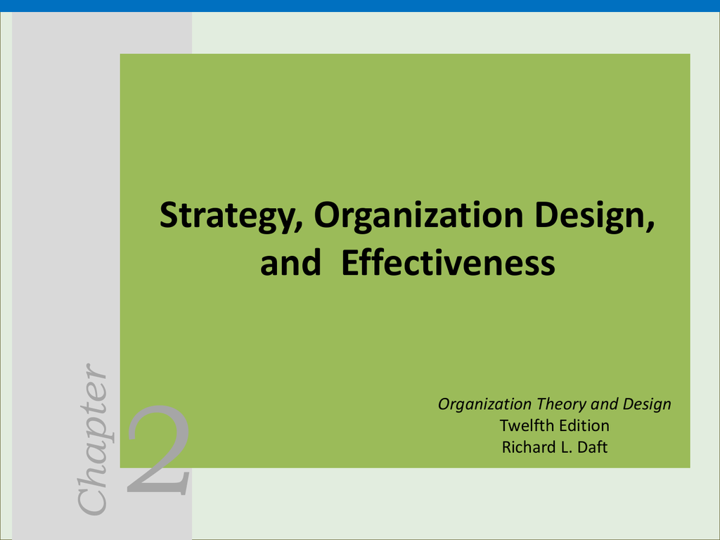 2 Chapter Strategy Organization Design And Effectiveness