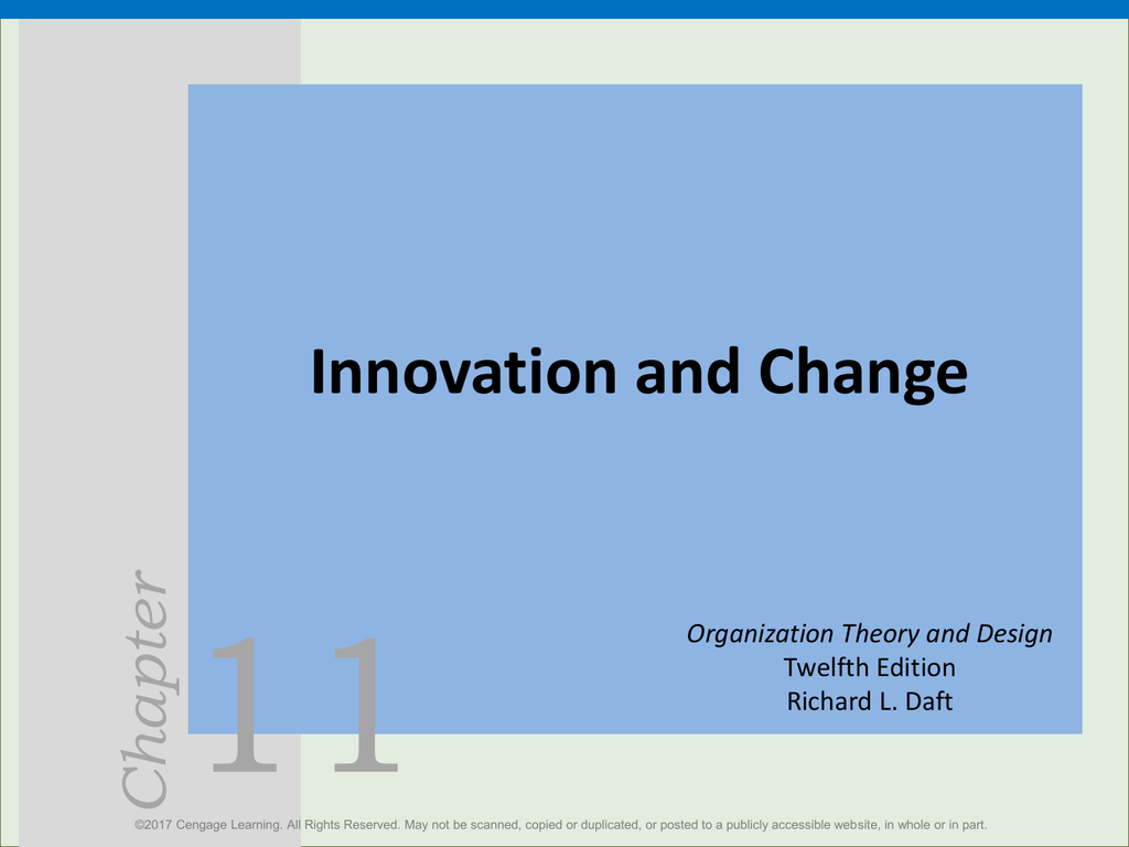 11 Innovation And Change Chapter Organization Theory And Design