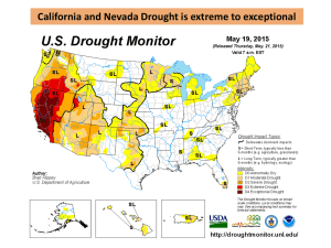 California and Nevada Drought is extreme to exceptional