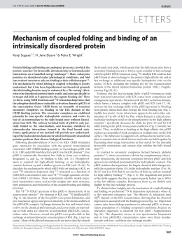 LETTERS Mechanism of coupled folding and binding of an intrinsically disordered protein
