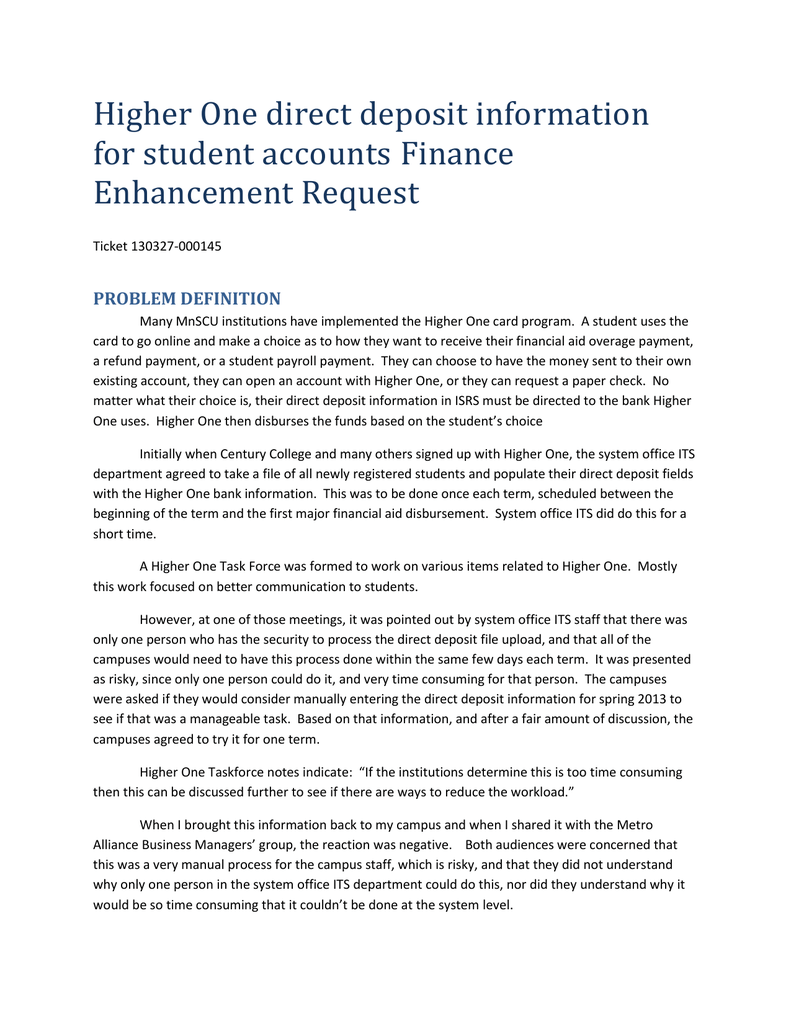 higher one direct deposit information for student accounts finance