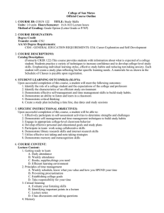 College of San Mateo Official Course Outline COURSE ID: Units: