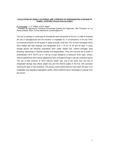 EVALUATION OF USING 2 COATINGS AND 3 PERIODS OF REFRIGERATED... Persea americana  P. Undurraga