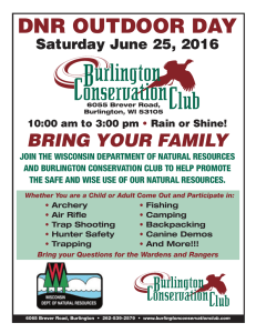 DNR OUTDOOR DAY BRING YOUR FAMILY Saturday June 25, 2016
