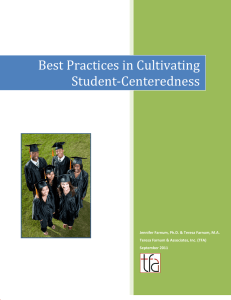 Best	Practices	in	Cultivating Student‐Centeredness