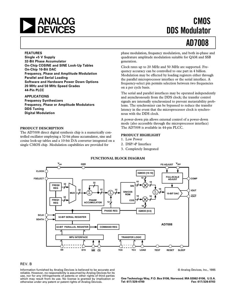 a CMOS DDS Modulator AD7008