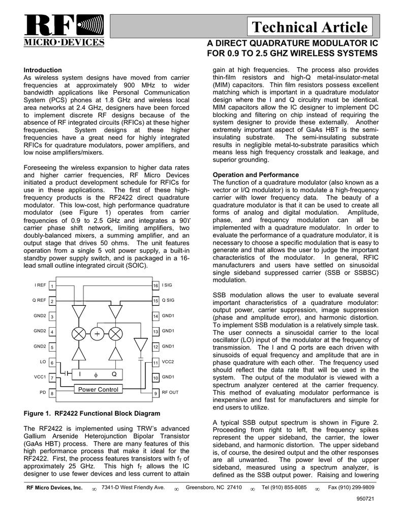 Technical Article A Direct Quadrature Modulator Ic Sidebandsuppressed Carrier Rf Fm Modulation Block Diagram