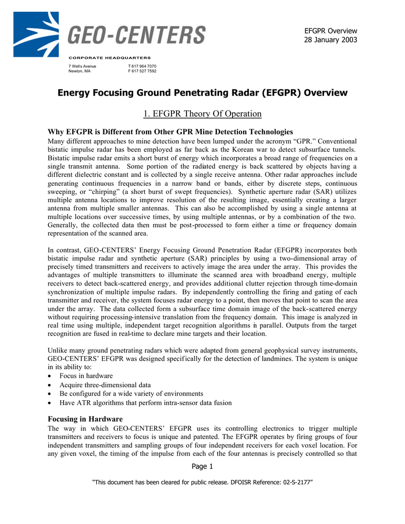 Energy Focusing Ground Penetrating Radar (EFGPR) Overview