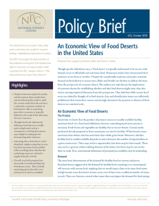 Policy Brief An Economic View of Food Deserts in the United States